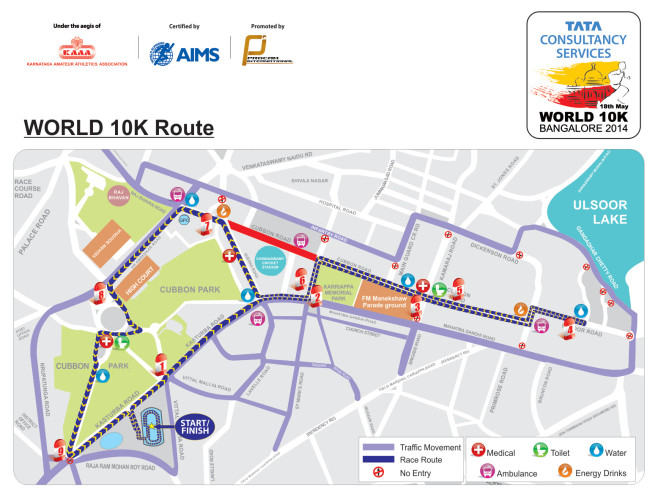 TCS World 10K Bangalore Course Map