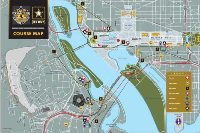 Army Ten-Miler Course Map