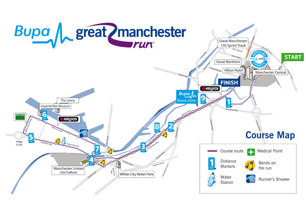 Bupa Great Manchester Run Course Map