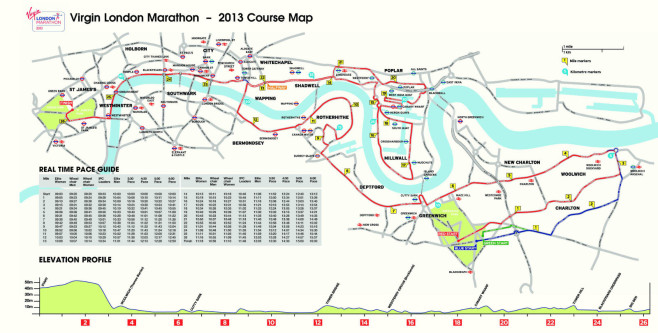 Virgin London Marathon Course Map