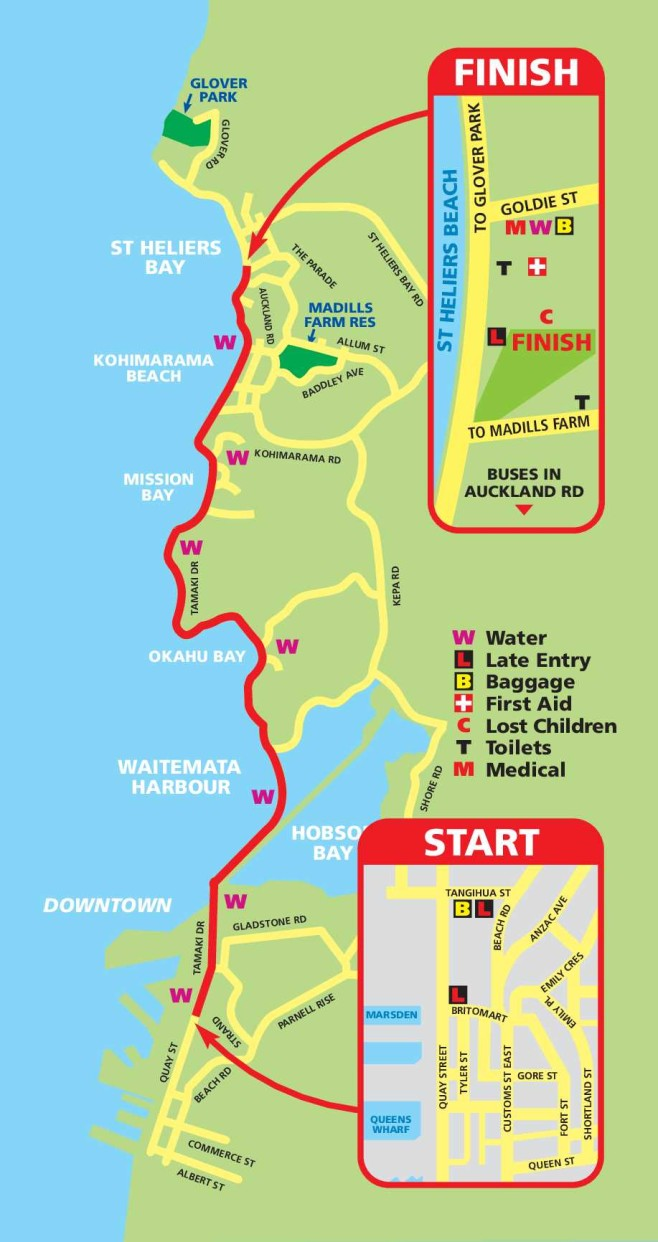 Ports of Auckland Round The Bays Course Map