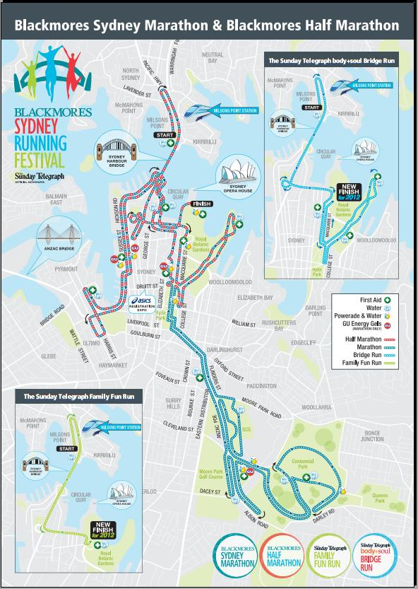 Blackmores Sydney Festival Marathon Course Map
