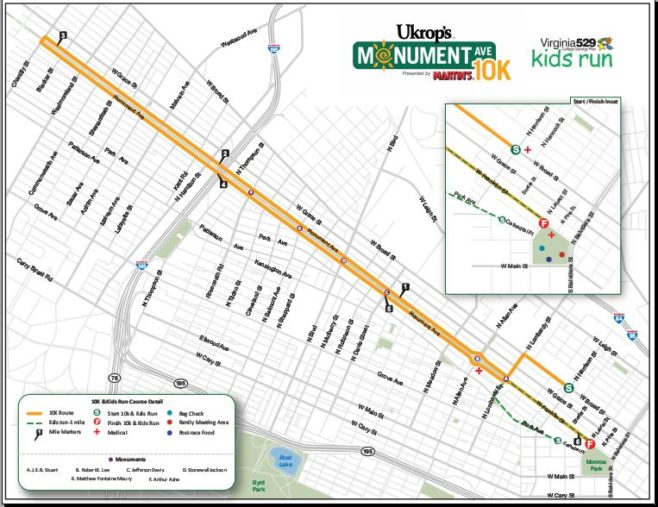 Ukrop's Monument Avenue 10K Course Map