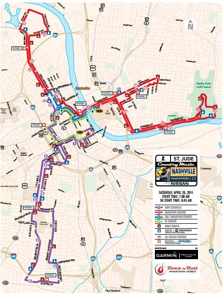 Country Music Nashville Marathon Course Map