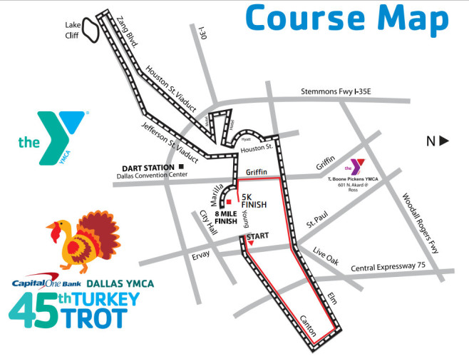 Dallas YMCA Turkey Trot 5K Course Map