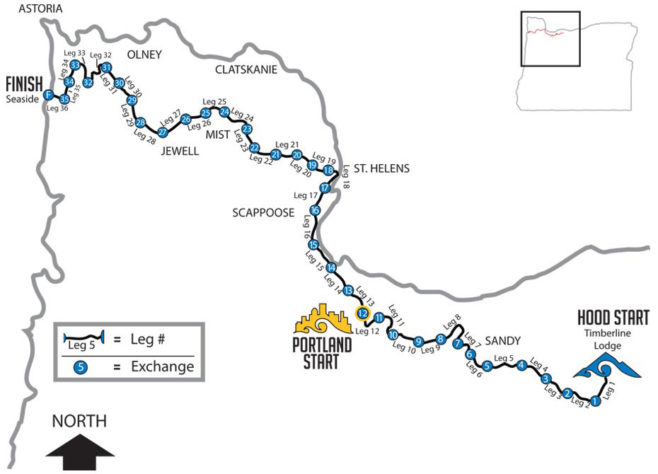 OfficeMax Hood to Coast Relay Course Map