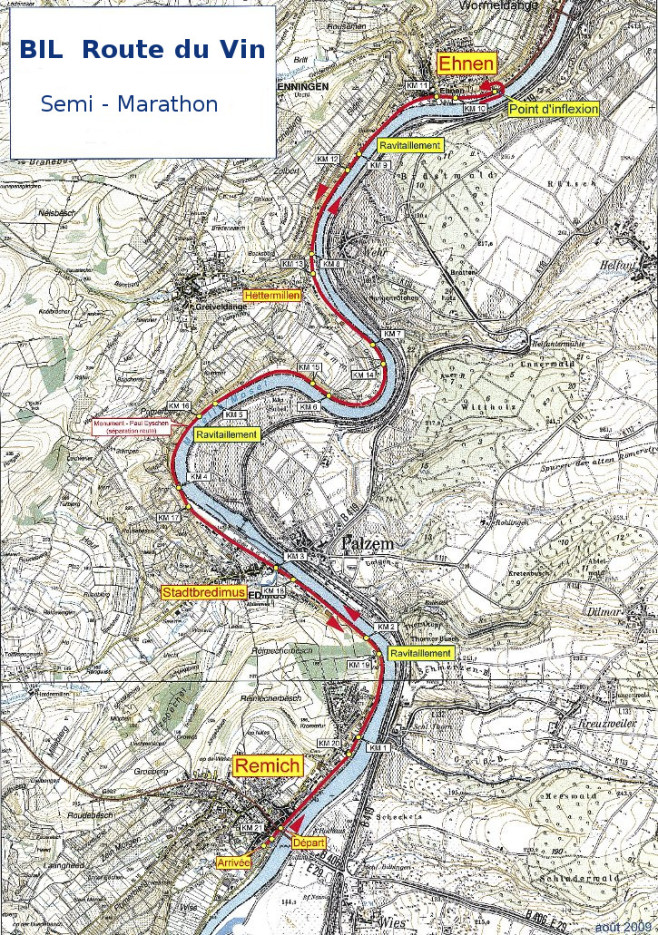 Route Du Vin Semi Marathon Course Map