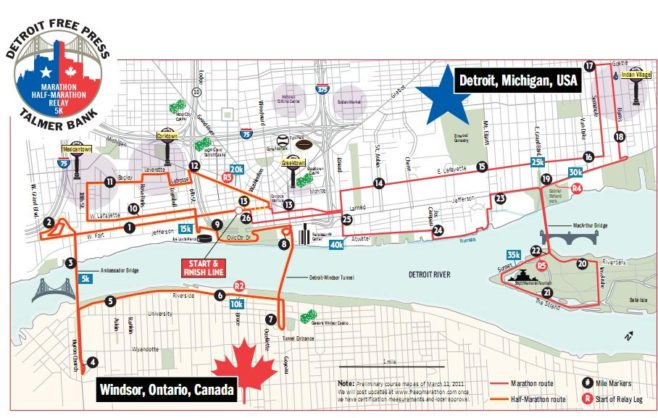 Detroit Free Press Marathon Course Map