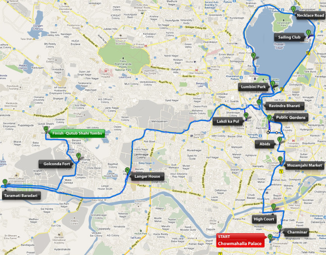 Hyderabad Heritage Marathon Profile Map