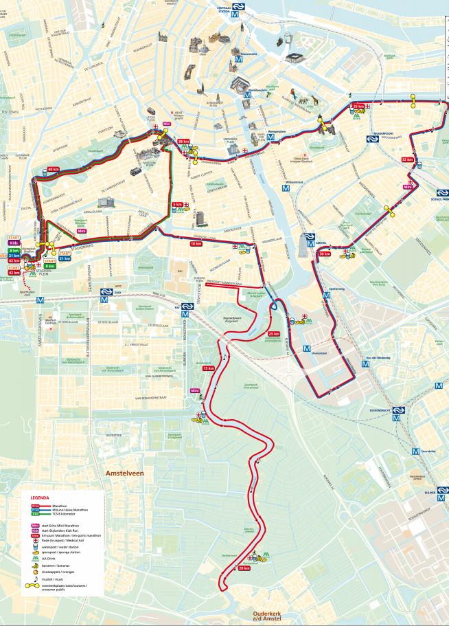 Amsterdam Marathon Course Map