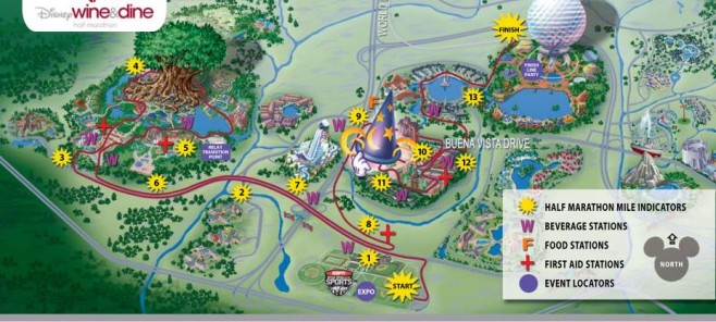 Disney Wine & Dine Half Marathon Course Map