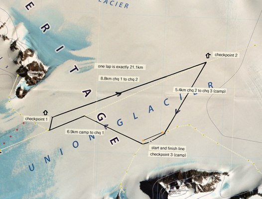Antarctic Ice Marathon Course Map