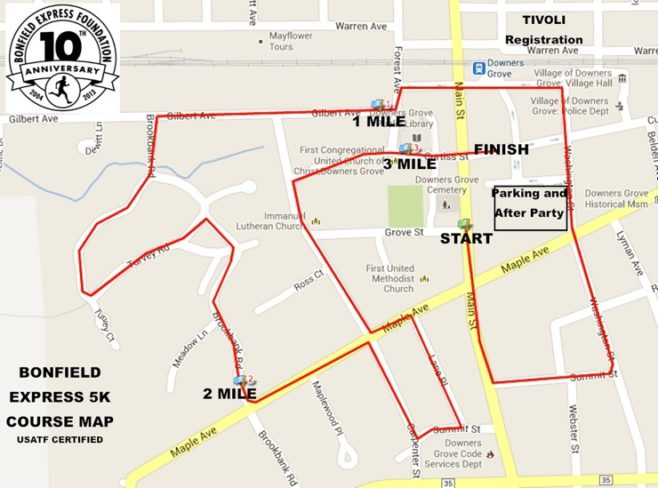 Bonfield Express Turkey Trot Course Map