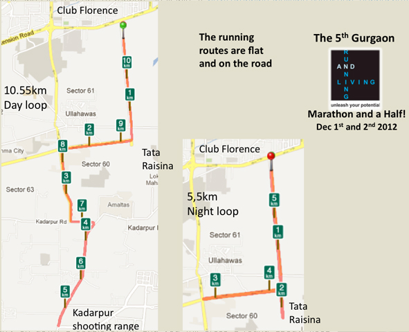 Running And Living Gurgaon Marathon Course Map