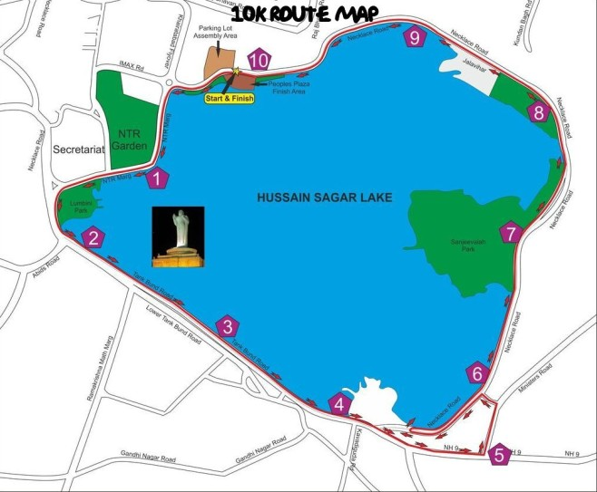Hyderabad 10K Run Course Map