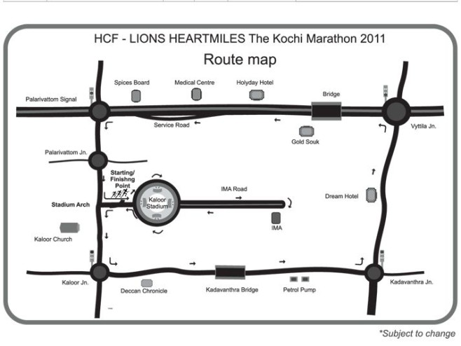 Kochi Marathon Course Map