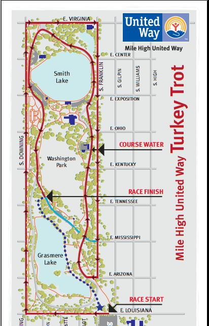 Denver Mile High United Way Turkey Trot Course Map