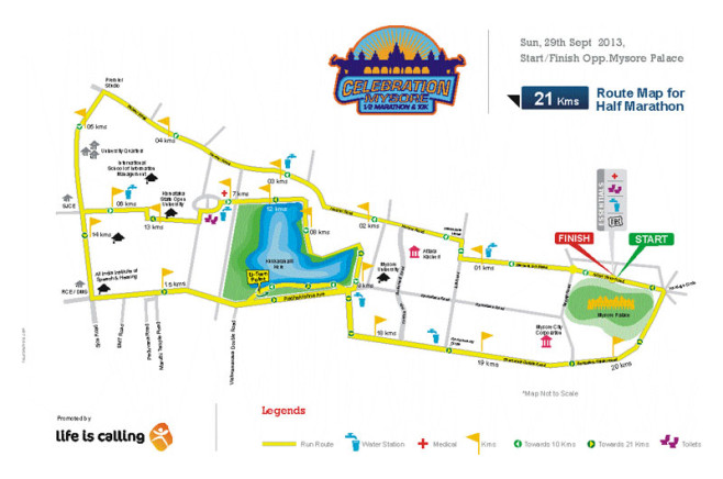 Celebration Mysore Half Marathon Course Map
