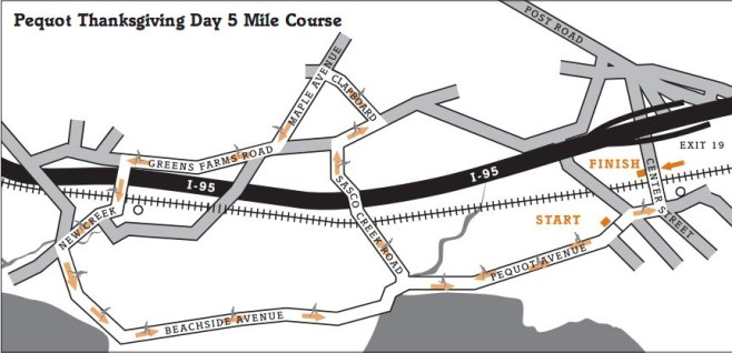 Pequot Runners Thanksgiving Day 5-Mile Race Course Map