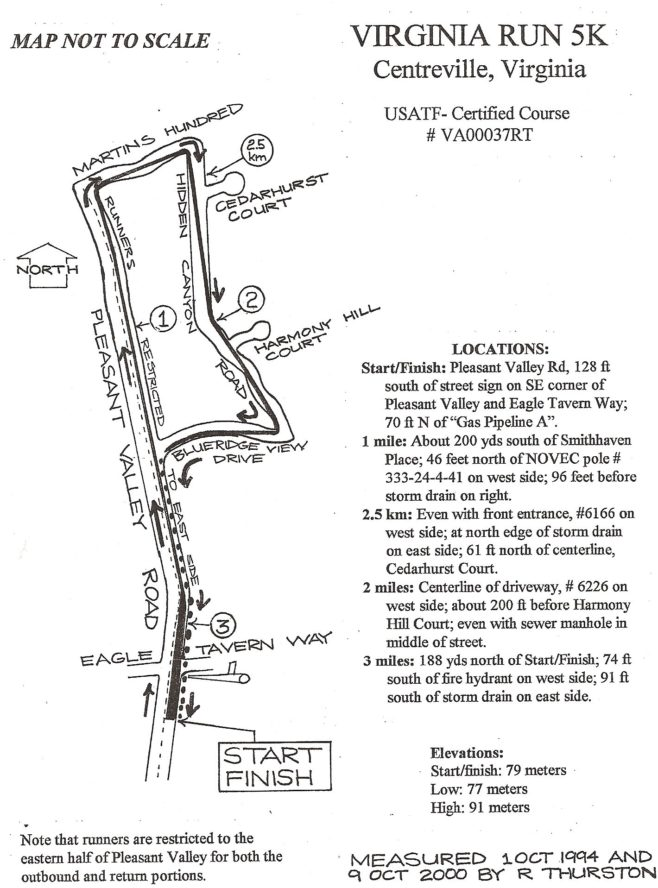 Virginia Run Turkey Trot Course Map
