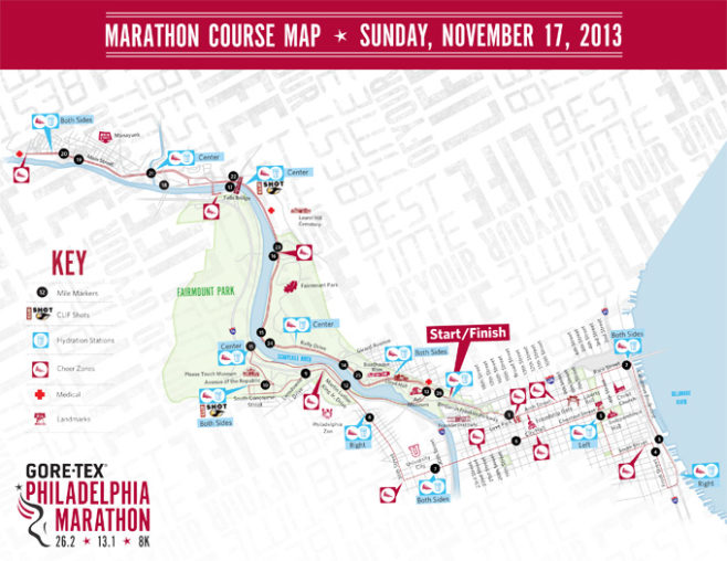 Philadelphia Marathon Course Map