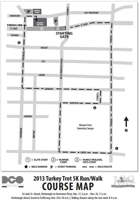 Springfield Turkey Trot 5K Course Map