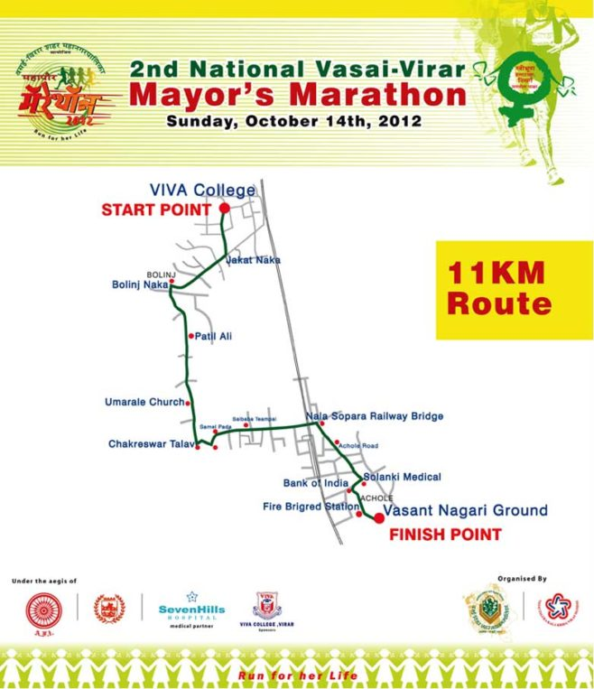 Vasai-Virar Marathon Course Map