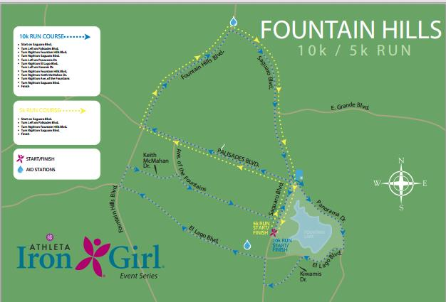 Athleta Iron Girl Fountain Hills Women's 10 Mile Course Map
