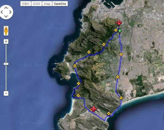 Old Mutual Two Oceans Marathon Course Map