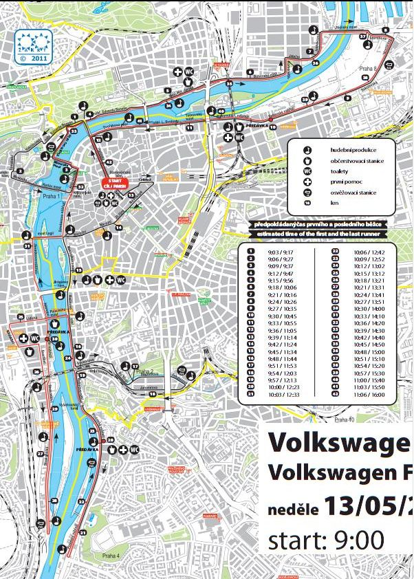 Volkswagen Prague Marathon Course Map