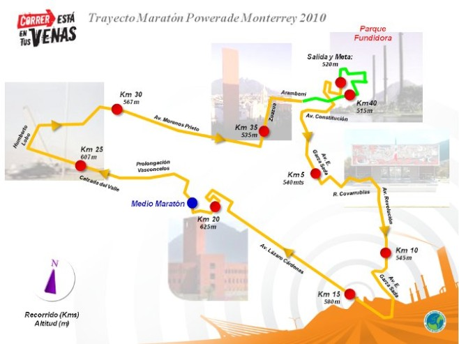 Maratón Powerade Monterrey Course Map