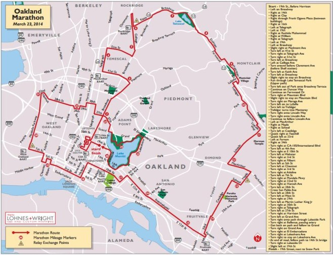 Oakland Marathon Course Map