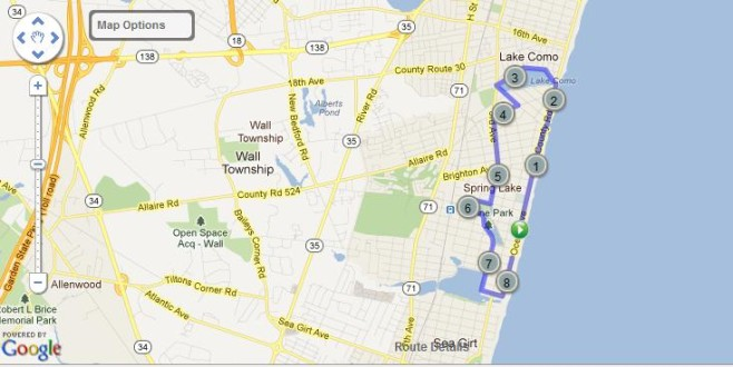 Spring Lake Five Mile Run Course Map