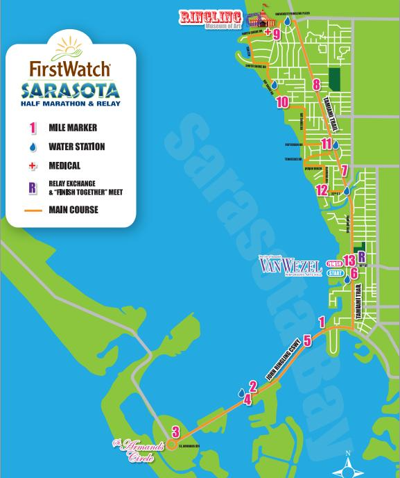 First Watch Sarasota Half Marathon Course Map