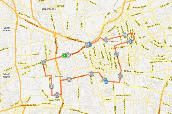 Maraton De Santiago Course Map