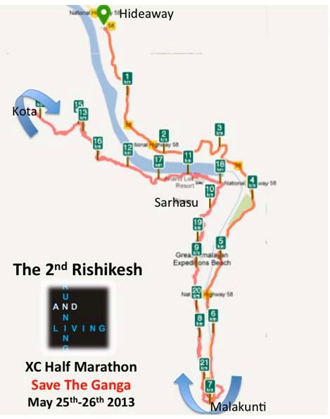 Running and Living Rishikesh Half Marathon Course Map