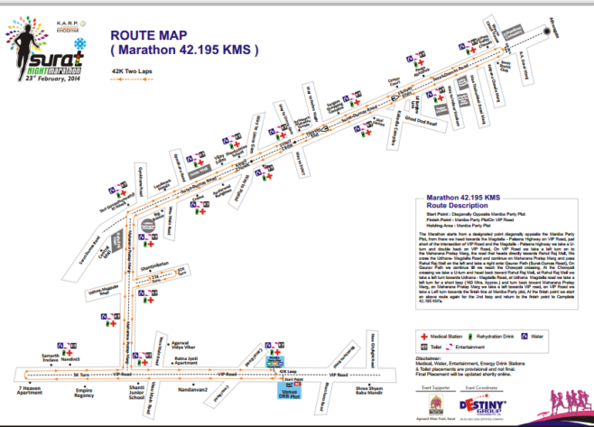 Surat Night Marathon Course Map