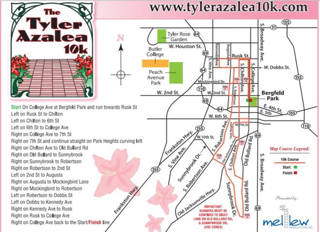Tyler Azalea 10K Course Map