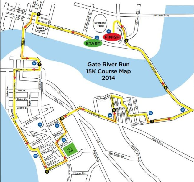 Gate River Run Course Map