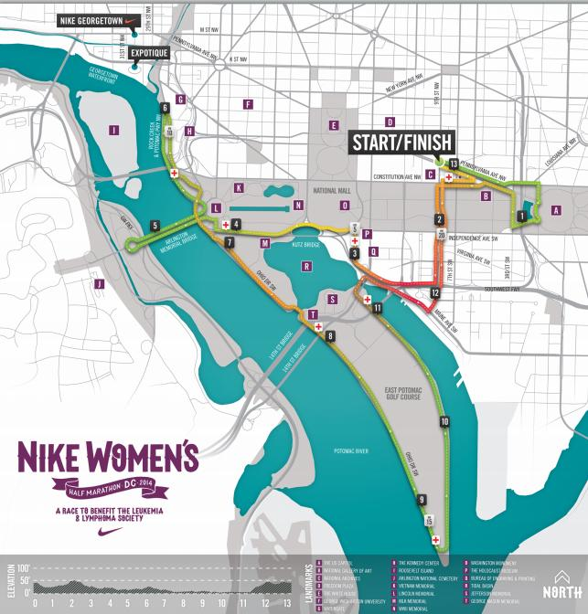 Nike Women Half Marathon DC Course Map