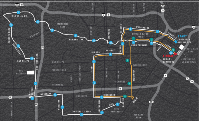Aramco Houston Half Marathon Course Map