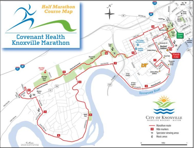 Covenant Health Knoxville Half Marathon Course Map