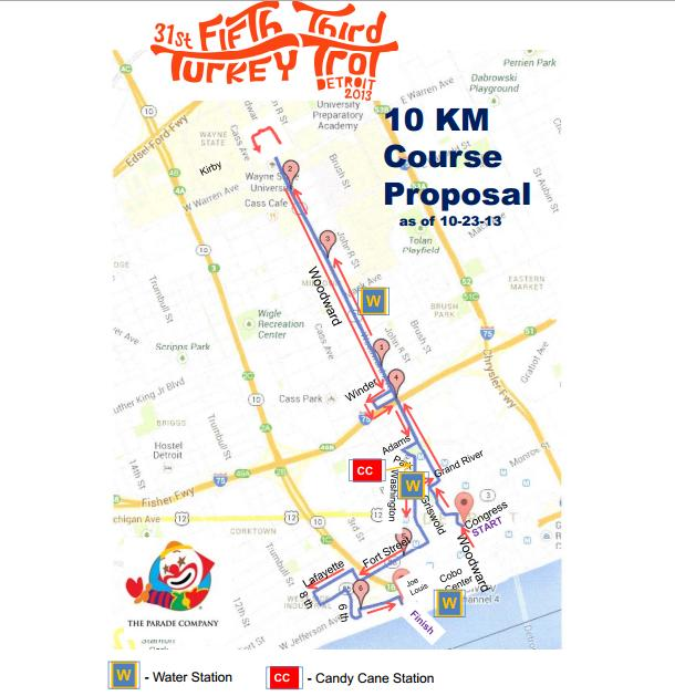 Detroit Turkey Trot 10K Course Map