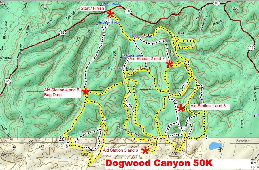 Dogwood canyon 50k 2017 2018 date registration course route for Dogwood canyon