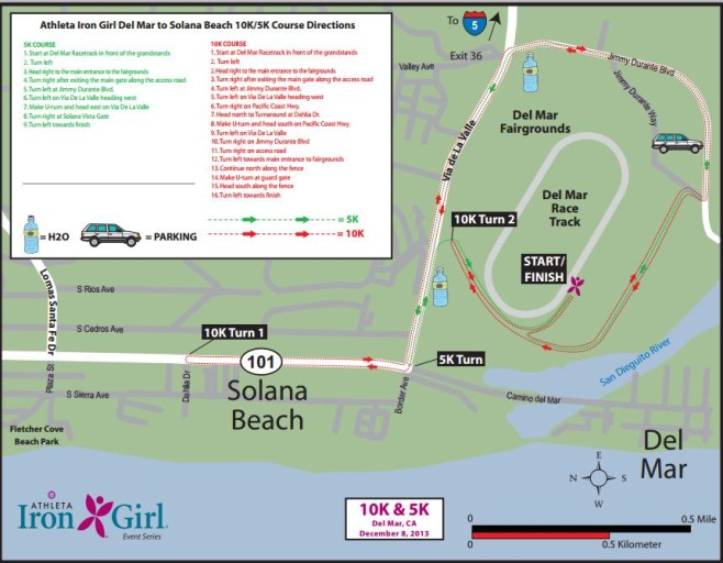 Athleta Iron Girl Del Mar Women's 10K Course Map