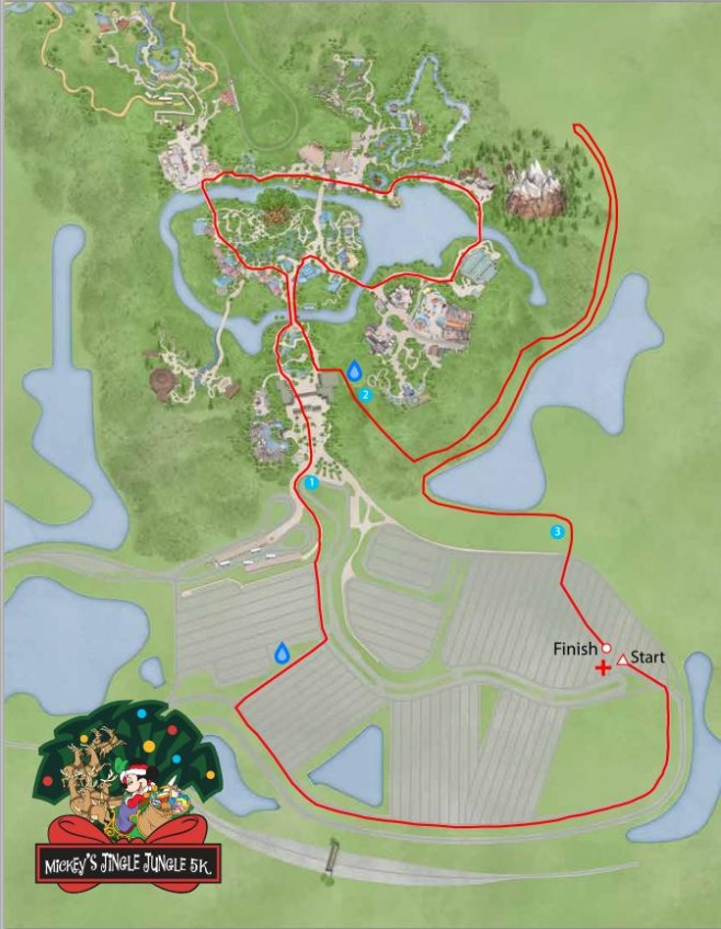 Mickey's Jingle Jungle 5K Course Map