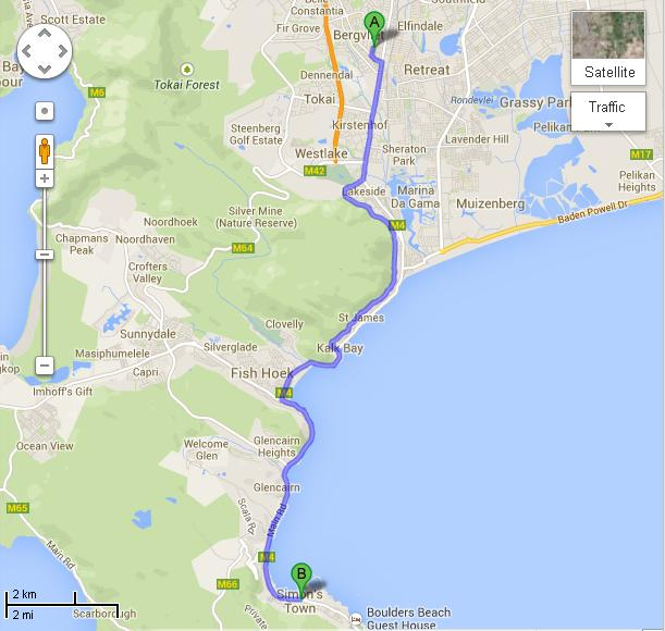 Cape Peninsula Half Marathon Course Map